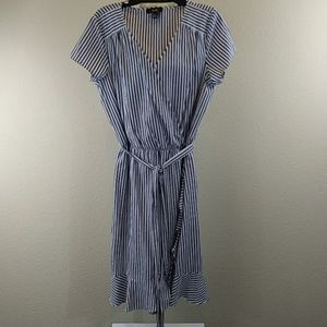 AGB Blue and White Striped Wrap Dress